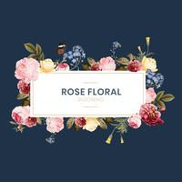 Blooming rose floral frame illustration