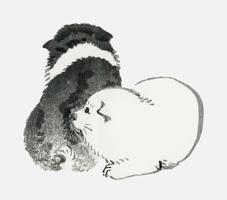 Cachorros en blanco y negro de K? No Bairei (1844-1895). Mejorado digitalmente desde nuestra propia edición original de Bairei Gakan en 1913.