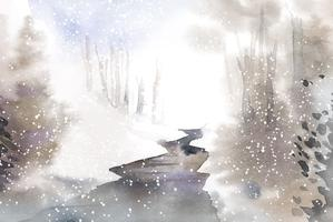 Winter wonderland landschap geschilderd door aquarel vector