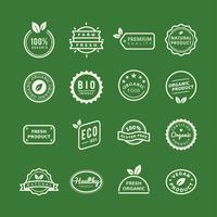 Ekologiska produktstämpel emblems set illustration