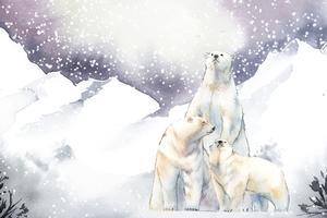 Osos polares en el vector acuarela de nieve