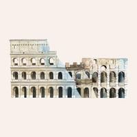 The Roman Colosseum painted by watercolor