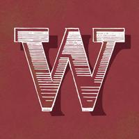 Capital letter W vintage typography style
