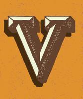 Capital letter V vintage typography style