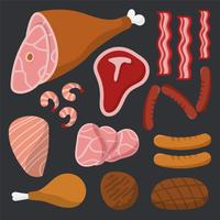 Kött vektor pack på svart bakgrund