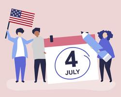 Characters of people and Fourth of July concept illustration