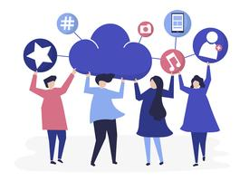 People holding cloud and social networking icons illustration