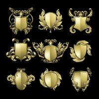 Éléments de bouclier baroque doré vector ensemble