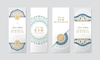 Weißer Eid Mubarak Fahnensatz