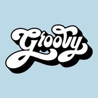Groovy word typografi stil illustration