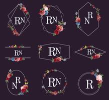 Set floral frame illustraties