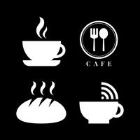 Kaffebutik ikon vektor uppsättning
