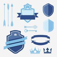 Conjunto de vetores de ornamento de rótulo azul