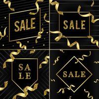 Emblème de la vente avec le vecteur de rubans