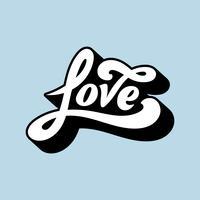 Amo, palavra, tipografia, estilo, ilustração