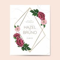 Wedding invitation with floral frame design vector