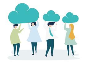 Personajes de gente de negocios con iconos de nube ilustración