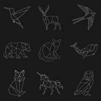 Set of animal linear illustrations