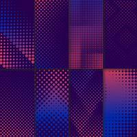 Conjunto de vetores de fundo de meio-tom roxo e rosa