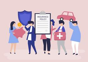 Characters of people holding insurance icons illustration
