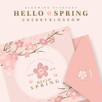 Cherry blossom card illustrations