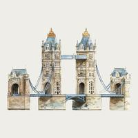 London Tower Bridge watercolor illustration