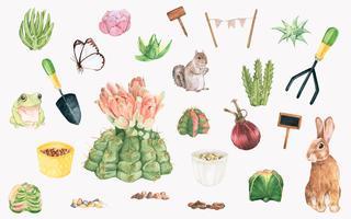 Handdragen trädgårdsobjekt och växter