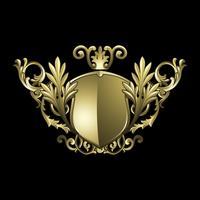 Golden Baroque shield elements vector
