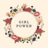 Girl power flower frame vektor