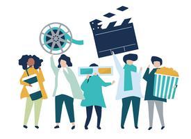 Karakters van mensen die de illustratie van filmpictogrammen houden