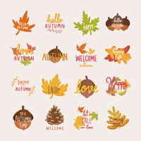Set van herfst of herfst illustraties