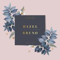 Blått blommigt bröllop inbjudningskort