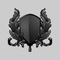 Vector de elementos de escudo barroco negro