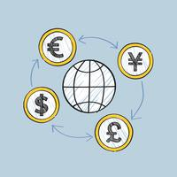 Global business and movement of currencies illustration