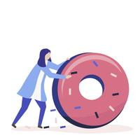 Personagem de uma mulher rolando uma ilustração de donut gigante
