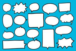Collection of speech bubbles on blue background vector
