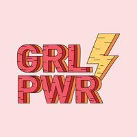 Grl Pwr flicka makt emblem vektor