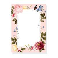 Ilustración de tarjeta de marco floral en blanco