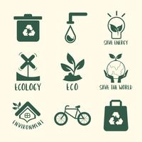 Environmental conservation symbol set illustration
