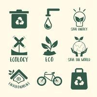 Environmental conservation symbol set illustration