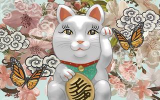 Japanische Maneki Neko-Figurillustration