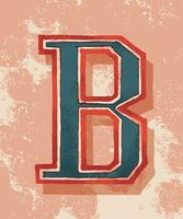 Capital letter B vintage typography style