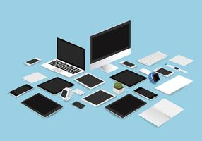 Office mockup set collection vector illustration on blue background