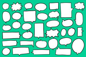 Collection of speech bubbles on green background vector