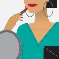 Femme, mettre, rouge rouge lèvres, illustration