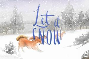 Let it snow card with hand-drawn group of foxes