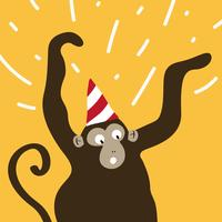 Excited monkey wearing a party hat cartoon vector