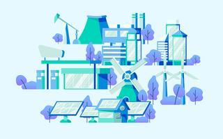 Energy saving concept vector in blue