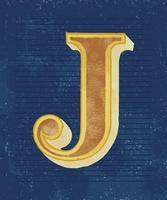 Mayúscula J tipografía vintage estilo