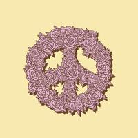 Hand drawn floral peace symbol illustration